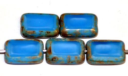 Best.Nr.:67313 Glasperlen / Table Cut Beads geschliffen Perlettglas mittelblau mit picasso finish, hergestellt in Gablonz / Tschechien