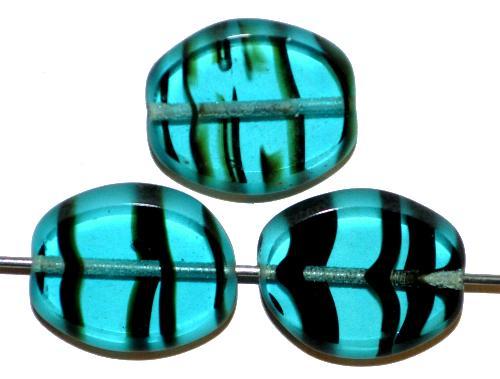 Best.Nr.:67316 Glasperlen / Table Cut Beads  Olive geschliffen  türkis transp. gestreift, Rand mattiert, hergestellt in Gablonz / Tschechien
