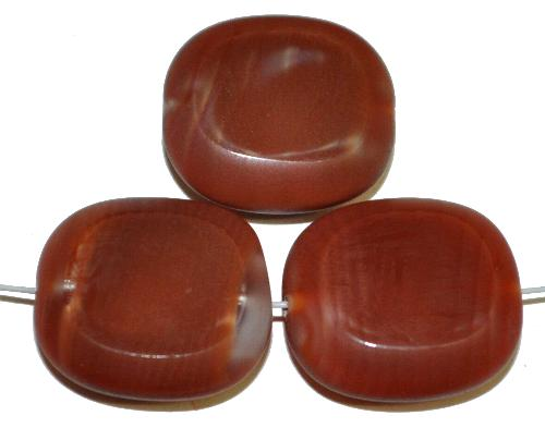 Best.Nr.:67335 Glasperlen / Table Cut Beads Olive geschliffen, Perlettglas braun mit picasso finish,  hergestellt in Gablonz / Tschechien