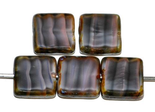 Best.Nr.:67340 Glasperlen / Table Cut Beads geschliffen  altrosa mit picasso finish,  hergestellt in Gablonz / Tschechien
