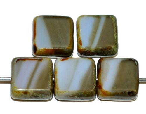 Best.Nr.:67342 Glasperlen / Table Cut Beads geschliffen mit picasso finish,  hergestellt in Gablonz / Tschechien