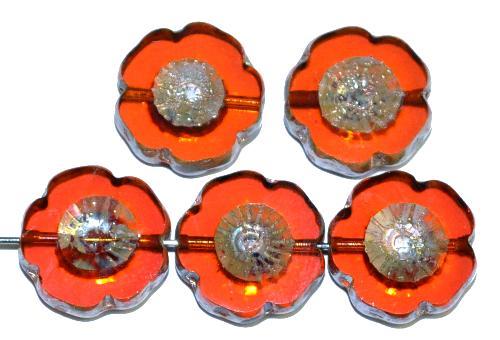 Best.Nr.:67350 Glasperlen / Table Cut Beads Blüten geschliffen cornelian transp. mit picasso finish, hergestellt in Gablonz / Tschechien