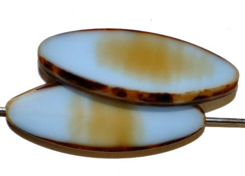 Best.Nr.:67353 Glasperlen / Table Cut Beads geschliffen,  hellblau beige opak mit picasso finish,  hergestellt in Gablonz / Tschechien