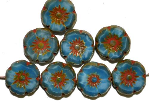 Best.Nr.:67356 Glasperlen / Table Cut Beads Blüten Perlettglas blau,  Blüten geschliffen mit burning silver picasso finish,  hergestellt in Gablonz / Tschechien
