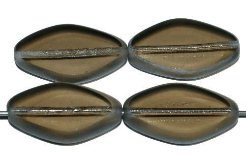 Best.Nr.:67357 Glasperlen / Table Cut Beads geschliffen, rauch Rand mattiert (frostet), hergestellt in Gablonz / Tschechien