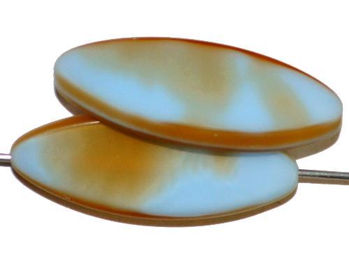 Best.Nr.:67360 Glasperlen / Table Cut Beads geschliffen,  hellblau beige opak Rand mattiert,  hergestellt in Gablonz / Tschechien