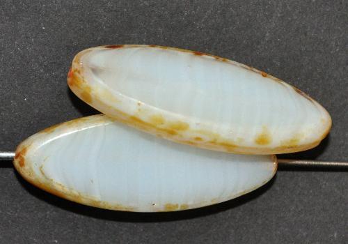 Best.Nr.:67361 Glasperlen / Table Cut Beads geschliffen,  alabasterweiß mit picasso finish,  hergestellt in Gablonz / Tschechien