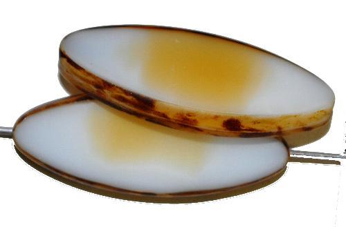 Best.Nr.:67364 Glasperlen / Table Cut Beads geschliffen,  weiß beige opak mit picasso finish,  hergestellt in Gablonz / Tschechien