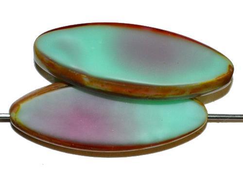 Best.Nr.:67368 Glasperlen / Table Cut Beads geschliffen,  mint fuchsia opak mit picasso finish,  hergestellt in Gablonz / Tschechien