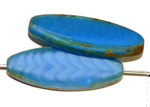 Best.Nr.:67370 Glasperlen / Table Cut Beads geschliffen,  Perlettglas blau mit picasso finish,  hergestellt in Gablonz / Tschechien