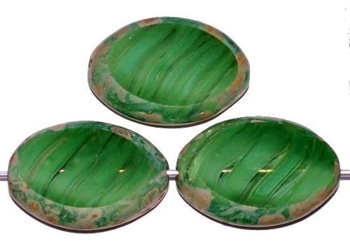 Best.Nr.:67375 Glasperlen / Table Cut Beads geschliffen grün marmoriert mit picasso finish, hergestellt in Gablonz Tschechien