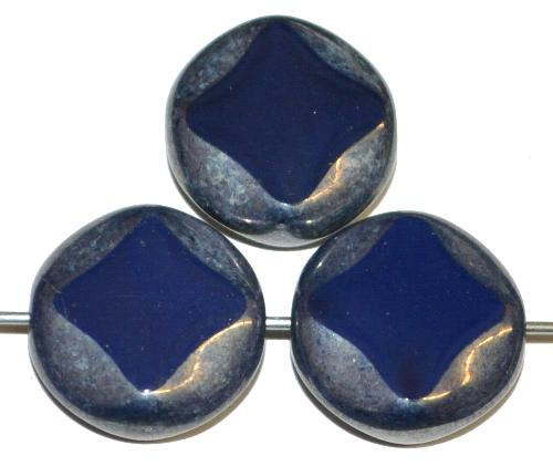 Best.Nr.:67380 Glasperlen / Table Cut Beads geschliffen dunkelblau opak, hergestellt in Gablonz / Tschechien