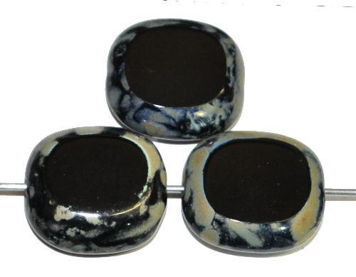 Best.Nr.:67396 Glasperlen / Table Cut Beads Olive geschliffen schwarz mit picasso finish,  hergestellt in Gablonz / Tschechien