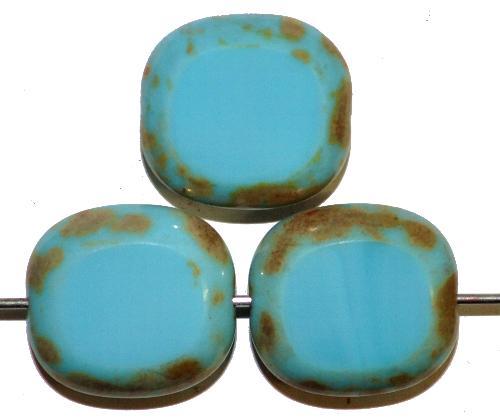 Best.Nr.:67397 Glasperlen / Table Cut Beads Olive geschliffen hellblau opak mit Travertin-Veredelung, hergestellt in Gablonz / Tschechien