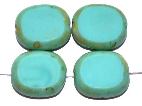 Best.Nr.:67401 Glasperlen / Table Cut Beads  Olive geschliffen türkis opak mit Travertin-Veredelung,  hergestellt in Gablonz / Tschechien