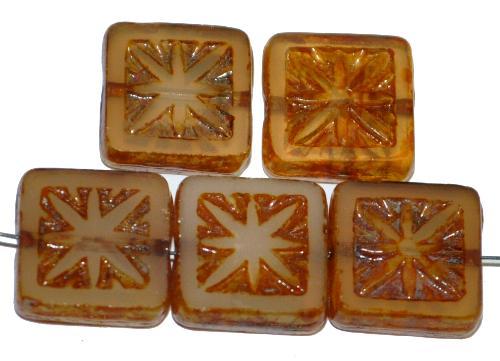 Best.Nr.:67411 Glasperlen / Table Cut Beads geschliffen mit Travertin-Veredelung, nach alten Vorlagen aus den 1920 Jahren neu gefertigt