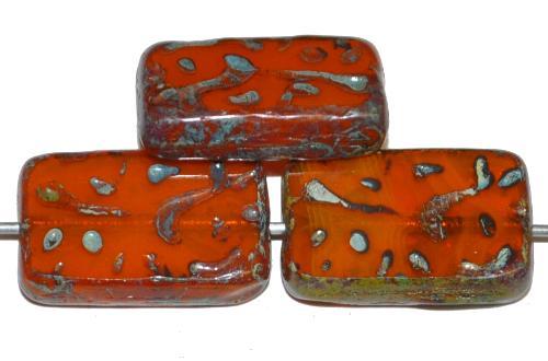Best.Nr.:67414 Glasperlen / Table Cut Beads geschliffen Alabasterglas terracotta mit picasso finish, hergestellt in Gablonz / Tschechien