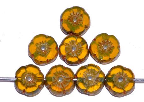 Best.Nr.:67416 Glasperlen / Table Cut Beads Blüten geschliffen Opalglas gelb mit picasso finish, hergestellt in Gablonz / Tschechien