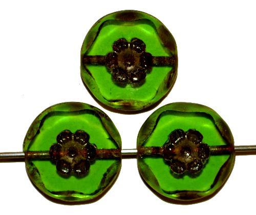 Best.Nr.:67417 Glasperlen geschliffen / Table Cut Beads,  grün transp. mit eingepägtem Blütenornament,  und picasso finish, hergestellt in Gablonz / Tschechien