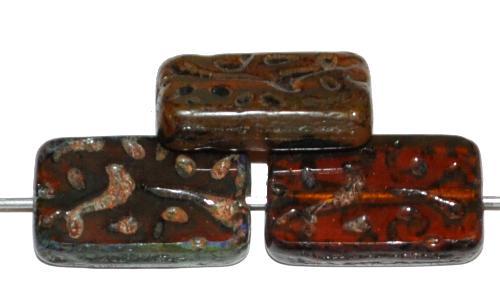 Best.Nr.:67420 Glasperlen / Table Cut Beads geschliffen braun transp. mit picasso finish, hergestellt in Gablonz / Tschechien