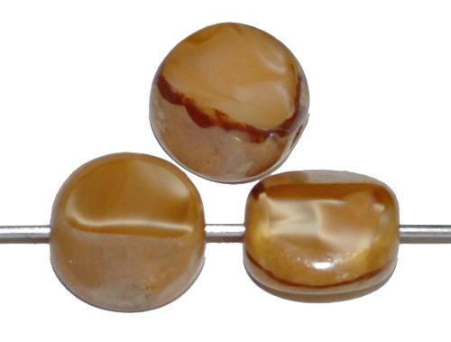 Best.Nr.:67444 Glasperlen / Table Cut Beads geschliffen, Perlettglas beige mit picasso finish . Rand mattiert (frostet), hergestellt in Gablonz / Tschechien