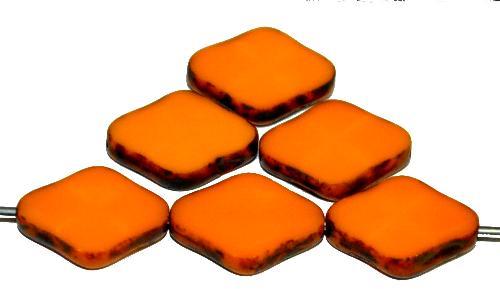 Best.Nr.:67449 Glasperlen / Table Cut Beads geschliffen orange opak mit Travertin-Veredelung, hergestellt in Gablonz / Tschechien