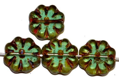 Best.Nr.:67456 Glasperlen / Table Cut geschliffen,  russischgrün transp. mit picasso finish,  hergestellt in Gablonz Tschechien