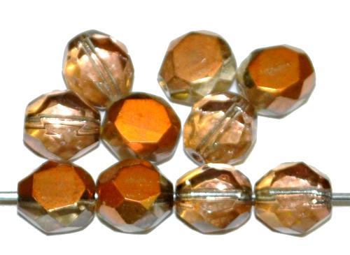 Best.Nr.:67571 Glasperlen / Table Cut Beads geschliffen, kristall mit metallic finish, Rand mit Facettenschliff, hergestellt in Gablonz / Tschechien