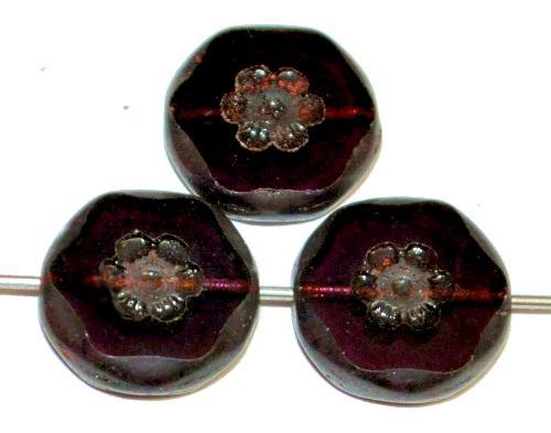 Best.Nr.:67464 Glasperlen / Table Cut Beads geschliffen ,  violett transp. mit picasso finish, hergestellt in Gablonz / Tschechien