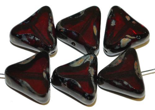 Best.Nr.:67474 Glasperlen / Table Cut Beads geschliffen dunkles granatrot mit picasso finish, hergestellt in Gablonz / Tschechien