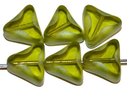 Best.Nr.:67476 Glasperlen / Table Cut Beads geschliffen grün transp. / Rand mattiert mit Silverlüster, hergestellt in Gablonz / Tschechien