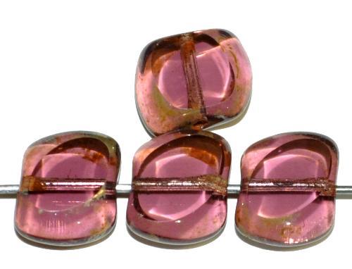 Best.Nr.:67481 Glasperlen / Table Cut Beads geschliffen  violett transp. mit picasso finish