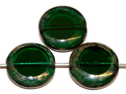 Best.Nr.:67482 Glasperlen / Table Cut Beads geschliffen  smaragdgrün transp. mit picasso finish, hergestellt in Gablonz Tschechien