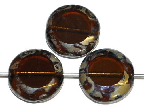 Best.Nr.:67483 Glasperlen / Table Cut Beads  geschliffen braun transp. mit picasso finish, hergestellt in Gablonz Tschechien