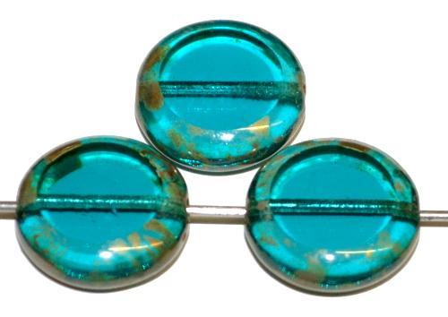 Best.Nr.:67484 Glasperlen / Table Cut Beads geschliffen  montanablau transp. mit picasso finish, hergestellt in Gablonz Tschechien