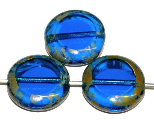 Best.Nr.:67485 Glasperlen / Table Cut Beads geschliffen  blau transp. mit picasso finish