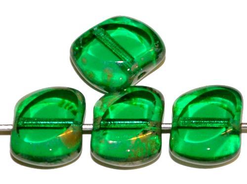 Best.Nr.:67486 Glasperlen / Table Cut Beads geschliffen grün transp. mit picasso finish, hergestellt in Gablonz / Tschechien