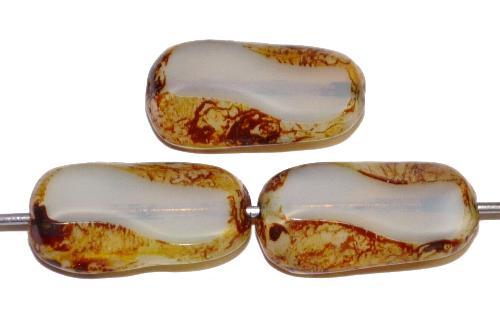 Best.Nr.:67488 Glasperlen / Table Cut Beads geschliffen, Opalglas mit picasso finish, hergestellt in Gablonz / Tschechien