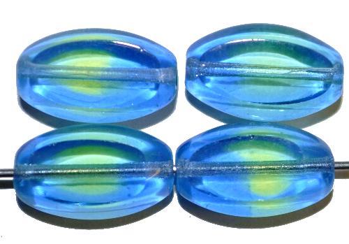 Best.Nr.:67502 Glasperlen / Table Cut Beads geschliffen Zweifarbenglas blau mit grünem Einschluss, hergestellt in Gablonz / Tschechien