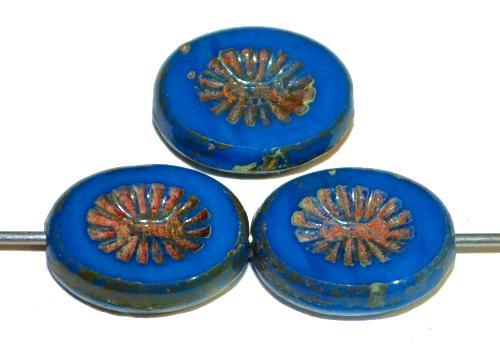 Best.Nr.:67503 Glasperlen / Table Cut Beads geschliffen mit Travertin-Veredelung, nach alten Vorlagen aus den 1920 Jahren neu gefertig