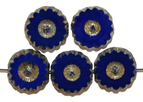 Best.Nr.:67509 Glasperlen / Table Cut Beads geschliffen blau opak  mit picasso finish,  hergestellt in Gablonz / Tschechien