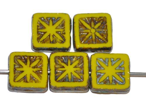 Best.Nr.:67513 Glasperlen / Table Cut Beads geschliffen,  olivgelb opak mit picasso finish,  nach alten Vorlagen aus den 1920 Jahren in Gablonz / Tschechien neu gefertigt