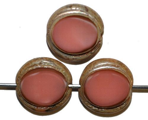Best.Nr.:67514 Glasperlen / Table Cut Beads,  altrosa opak,  geschliffen mit burning silver picasso finish,  hergestellt in Gablonz / Tschechien