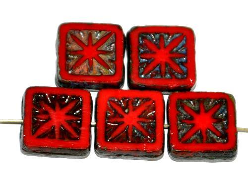Best.Nr.:67515 Glasperlen / Table Cut Beads geschliffen,  rot opak mit picasso finish,  nach alten Vorlagen aus den 1920 Jahren in Gablonz / Tschechien neu gefertigt