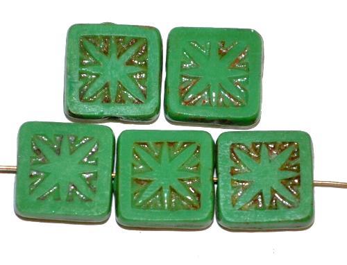 Best.Nr.:67517 Glasperlen / Table Cut Beads geschliffen  grün opak mit picasso finish, nach alten Vorlagen aus den 1920 Jahren in Gablonz / Tschechien neu gefertigt