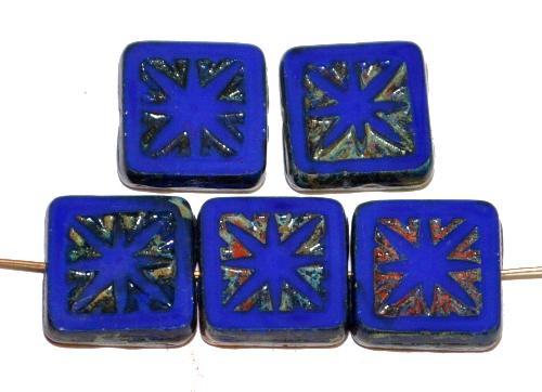 Best.Nr.:67518 Glasperlen / Table Cut Beads geschliffen, blau opak mit picasso finish,  nach alten Vorlagen aus den 1920 Jahren in Gablonz / Tschechien neu gefertigt