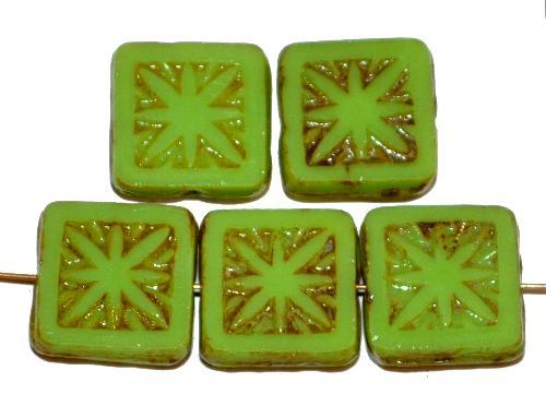 Best.Nr.:67519 Glasperlen / Table Cut Beads geschliffen,  hellgrün opak mit picasso finish,  nach alten Vorlagen aus den 1920 Jahren in Gablonz / Tschechien neu gefertigt