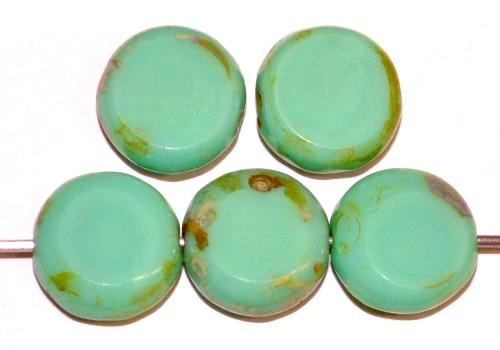 Best.Nr.:67530 Glasperlen / Table Cut Beads geschliffen  türkisgrün opak mit picasso finish,