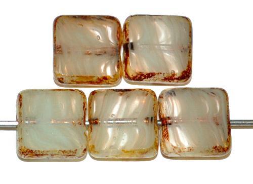 Best.Nr.:67531 Glasperlen / Table Cut Beads geschliffen  silk mit picasso finish,  hergestellt in Gablonz / Tschechien