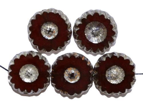 Best.Nr.:67533 Glasperlen / Table Cut Beads geschliffen alabasterbraun mit picasso finish,  hergestellt in Gablonz / Tschechien